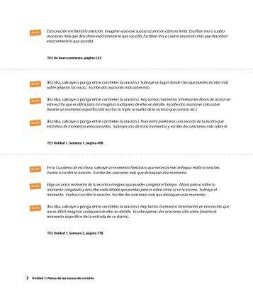 Grado 3, Notas de las tareas de revisión - MacMillan Tesoros