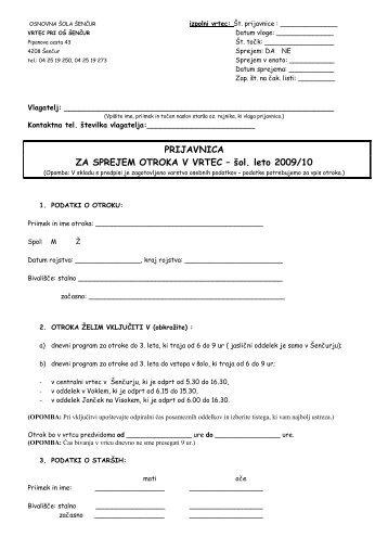 Prijavnica za vpis otrok v vrtec 2009_2010.pdf - Osnovna šola Šenčur