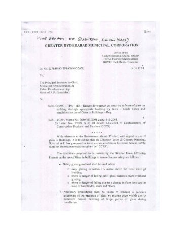 Greater Hyderabad Municipal Corporation letter dated 31.12.2008