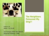 The Neighbors Poisoned My Dog!!! Case #: 41 Slide#: T12-31138 ...