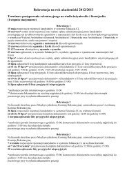 Rekrutacja na rok akademicki 2012/2013