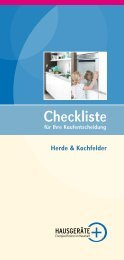 Checkliste Herde & Kochfelder - Initiative HAUSGERÄTE+