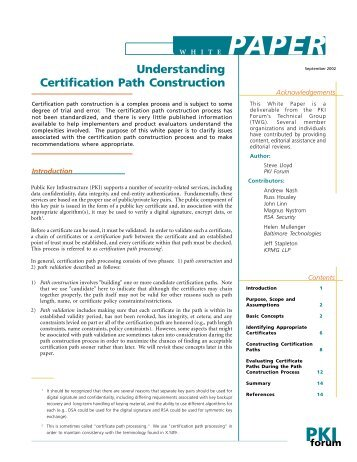 Understanding Certification Path Construction - oasis pki