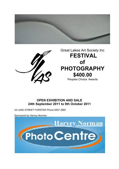 FESTIVAL of PHOTOGRAPHY $400.00 - Great Lakes Art Society
