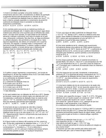 Dilatação térmica - Professor Panosso