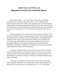 JOHN WILLIAM WING, JR. Biography from the Lehi Centennial History