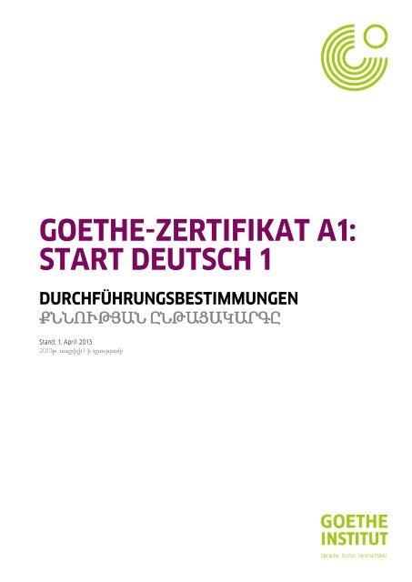 Durchfã¼hrungsbestimmungen Goethe Zertifikat A1 Goethe Institut