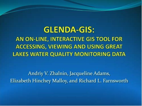 GLENDA-GIS: AN ON-LINE, INTERACTIVE GIS ... - GeoTools - NOAA