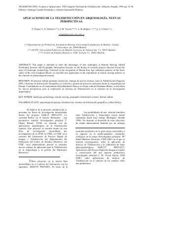aplicaciones de la teledetección en arqueología. nuevas perspectivas.