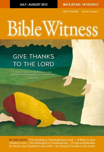 give thanks to the Lord - Bible Witness Media Ministry