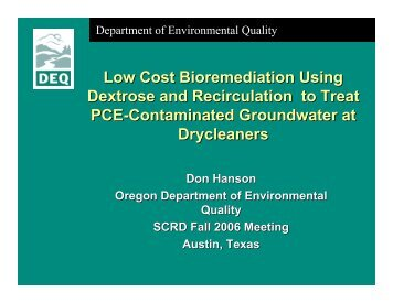 Low Cost Bioremediation Using Dextrose and Recirculation to Treat ...