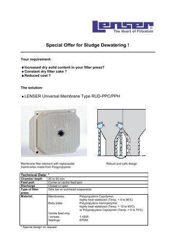 Special Offer for Sludge Dewatering ! - Lenser Filtration GmbH + Co.