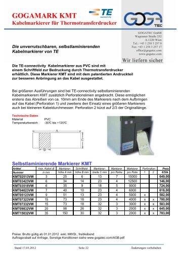 Kabelmarkierer für Thermotransferdrucker - Gogatec