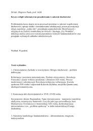Dr hab. Zbigniew Pasek, prof. AGH Kryzys religii i alternatywne ...