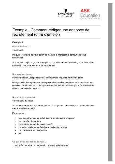 Exemple Comment Rédiger Une Annonce De Recrutement Offre