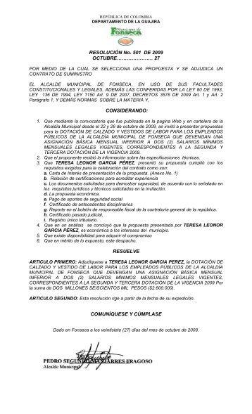 RESOLUCIÓN No. 501 DE 2009 OCTUBRE ... - Fonseca