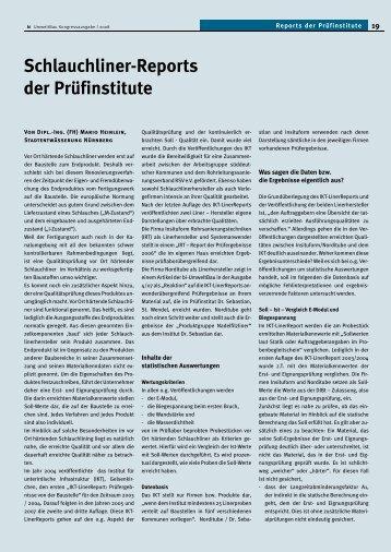 Schlauchliner-Reports der Prüfinstitute