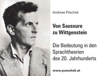 Von Saussure zu Wittgenstein Die Bedeutung in ... - Pöschek, Andreas