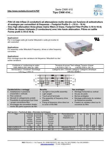 Serie CNW 410 Tipo CNW 414/… - Reo Italia Srl