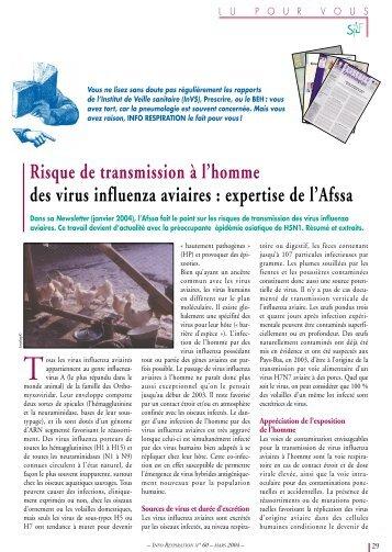 Risque de transmission à l'homme des virus influenza aviaires - SPLF