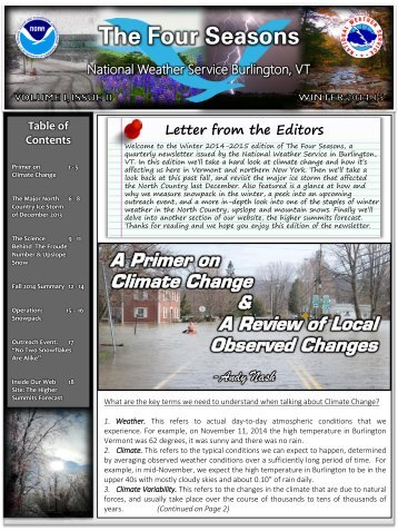 Letter - The Four Seasons- WINTER 2014-2015