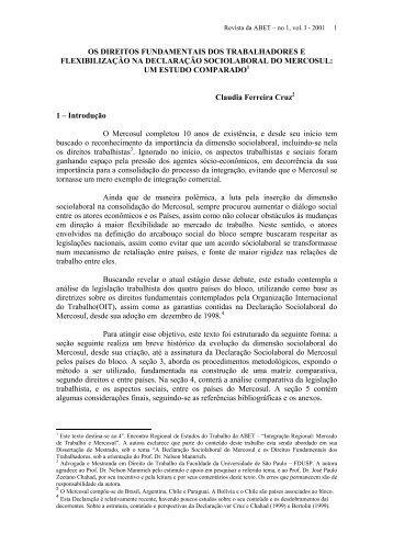 A Declaração Sociolaboral do Mercosul - Saúde e Trabalho Online