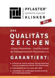 Qualitätszeichen - Arbeitsgemeinschaft Pflasterklinker eV, Bonn