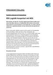 IDS Logistik kooperiert mit  HES - IDS Logistik GmbH