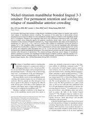 Nickel-titanium mandibular bonded lingual 3-3 retainer: For ...