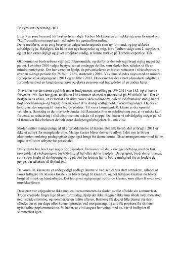 Bestyrelsens beretning 2011 - SkoleIntra