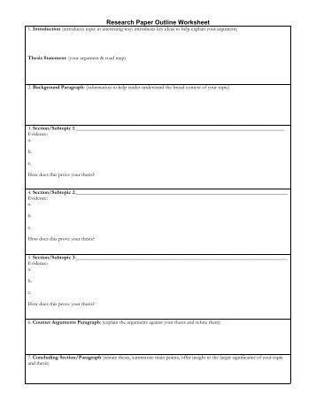 outline worksheet for research paper