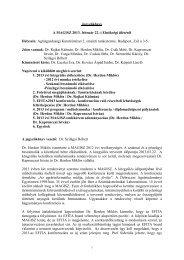 Jegyzőkönyv A MAGISZ 2013. február 22.-i Elnökségi üléséről ...