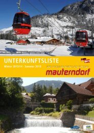 Zimmerpreisliste 2013/2014 - Mauterndorf