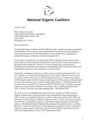 National Organic Coalition - Center for Food Safety