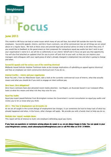 Download HR Focus June 2013 newsletter - Weightmans Solicitors