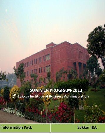 SUMMER PROGRAM-2013 - Sukkur IBA