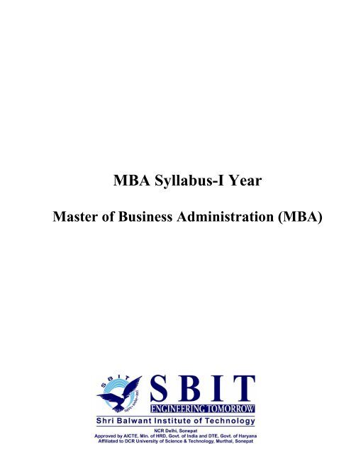 MBA Syllabus-I Year - Sbit in