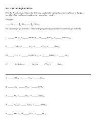 Balancing equations – Worksheet - Avon Chemistry