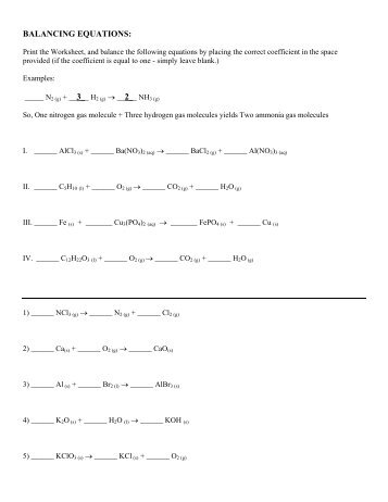 Worksheet to teach balancing equations Name Directions: 1. Start ...