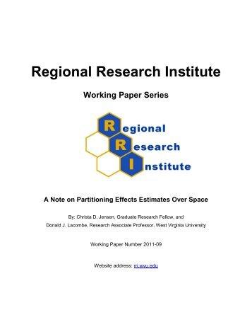 Regional Research Institute - RRI - West Virginia University