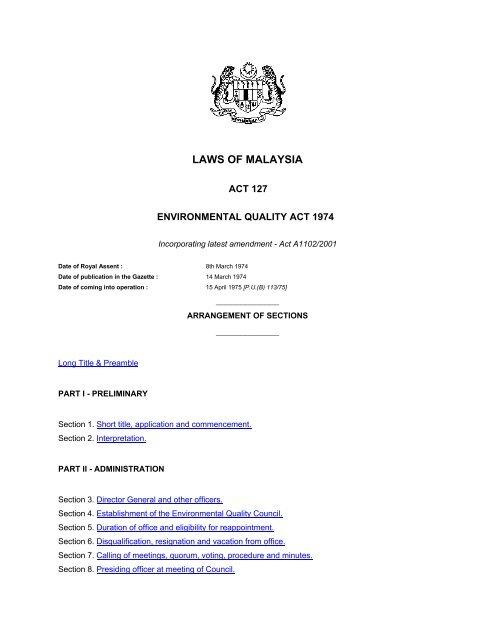 Environmental Quality Act 1974 Aecen