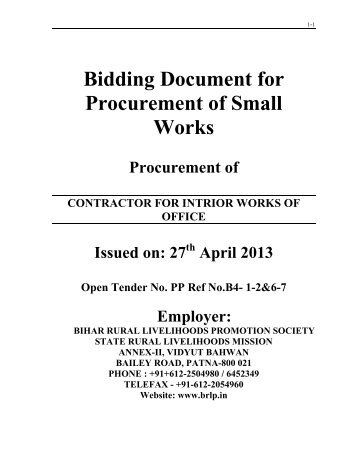 Bidding Document for Procurement of Small Works - Bihar Rural ...
