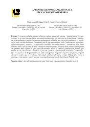 aprendizagem organizacional e educação em engenharia - Projeto ...