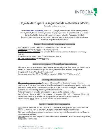 Hoja de datos para la seguridad de materiales (MSDS) - Integra Miltex