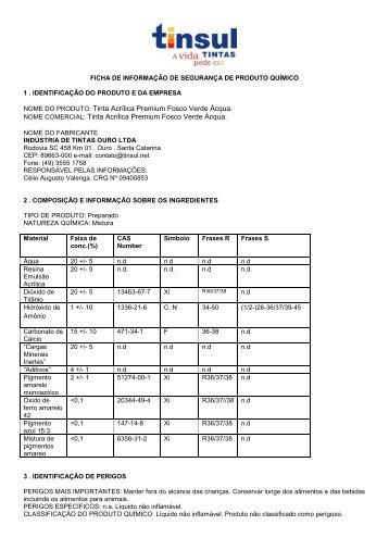NOME DO PRODUTO: Tinta Acrílica Premium Fosco ... - Tinsul Tintas