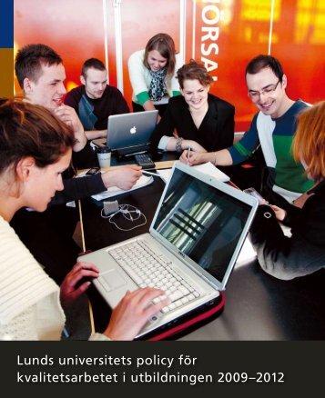 Policy för kvalitetsarbetet (nytt fönster) - Lunds universitet
