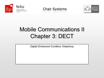 Mobile Communications II Chapter 3: DECT