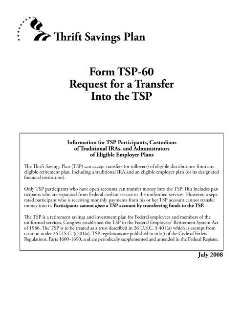 Thrift Savings Plan Form TSP-60 Request for a Transfer Into