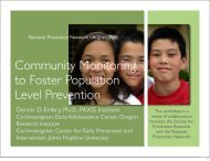 Community Monitoring to Foster Population Level Prevention