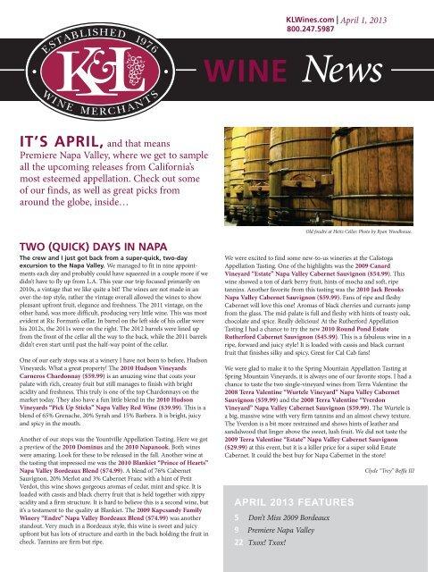 K L Newsletter Template Full Color 2010 K L Wine Merchants